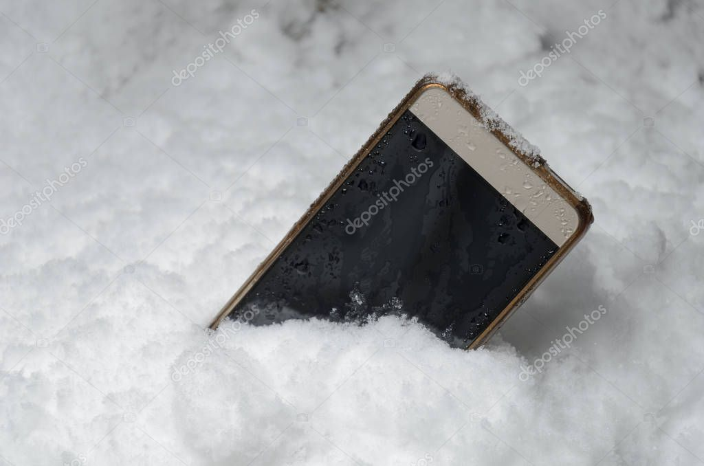 the phone fell in a snowdrift