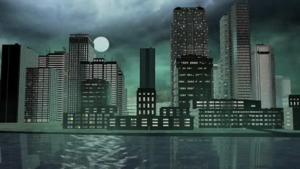 Köd fúj keresztül 3D-s várostérképek forrása az egész éjjel - balra jobbra, panoráma