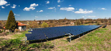 Panoramic view of solar panels, photovoltaic - alternative electricity source
