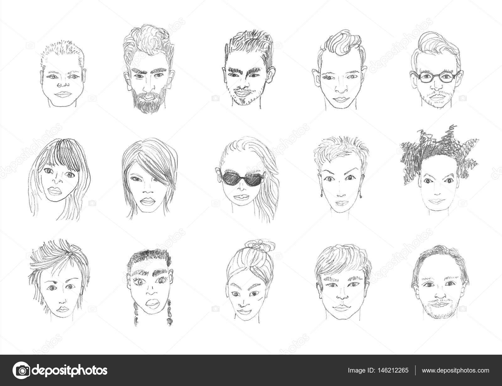 Dibujos Rostros Mujeres Dibujo A Lápiz Caras Gente Foto De