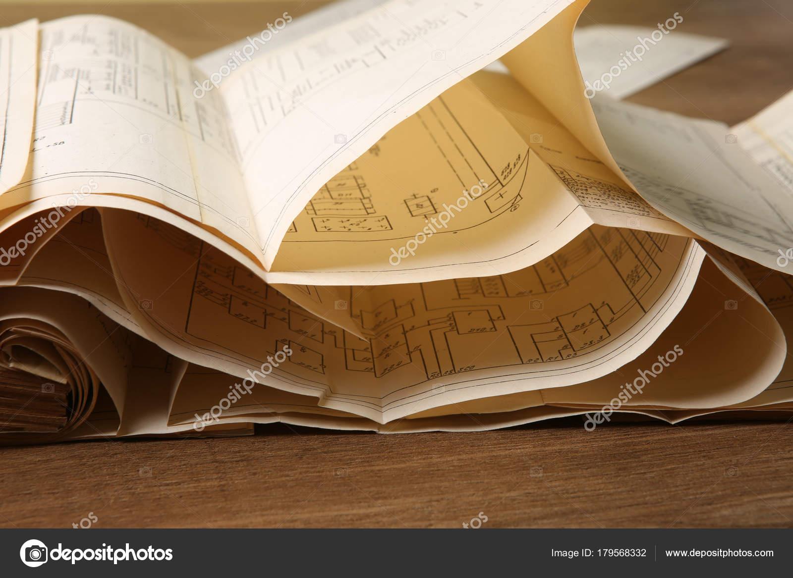 Alte Elektrische Shemes Vintage Papierdokumente Strom Diagramm ...