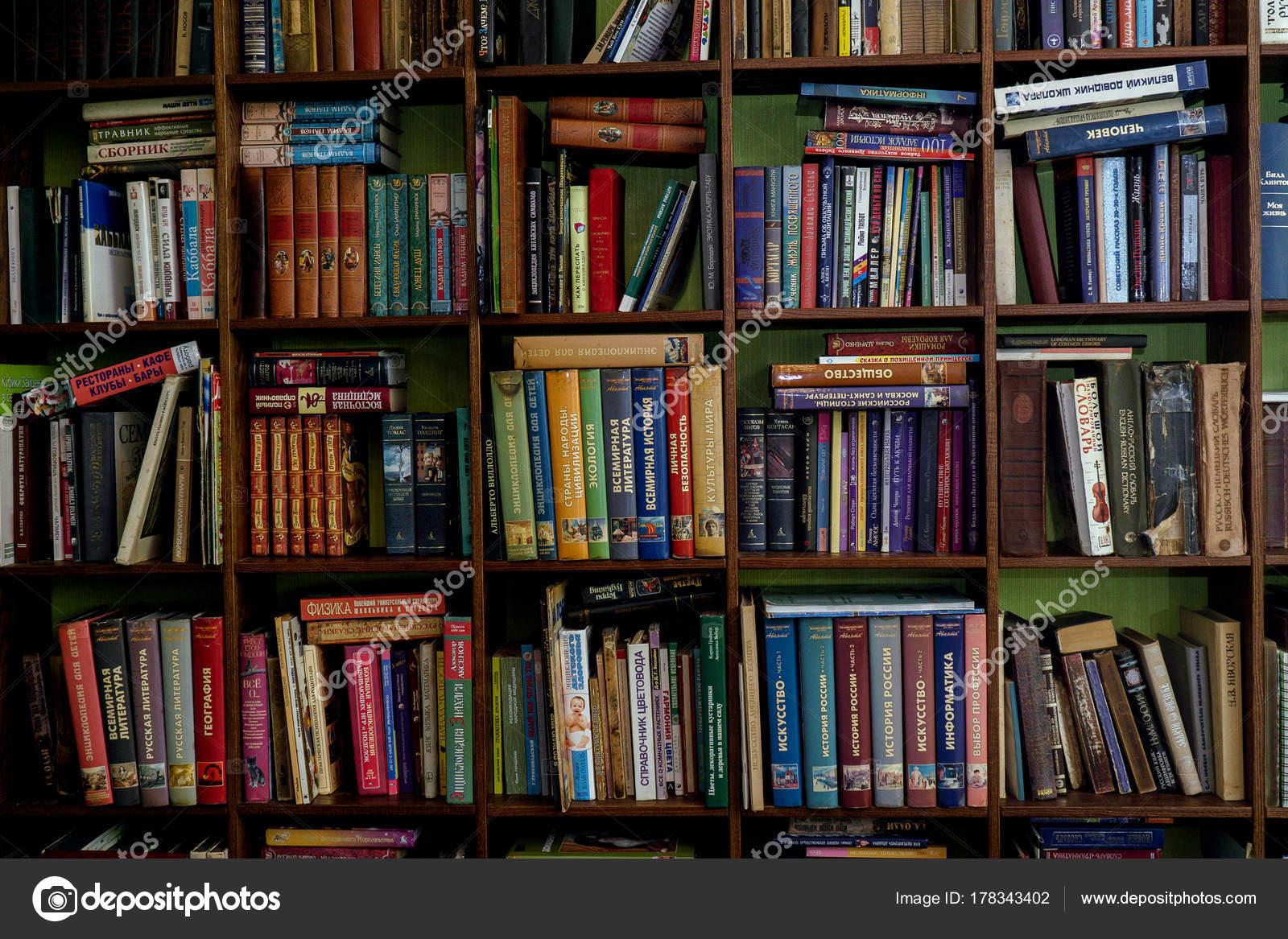 Libros sobre la una estanteras madera viejos y nuevos libros en