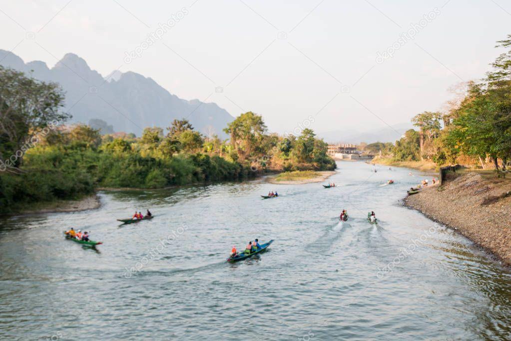 Vangviang, Laos - Feb 18 :Landscape of Nam Song River in morning on Feb 18, 2017 in Vangviang, Laos