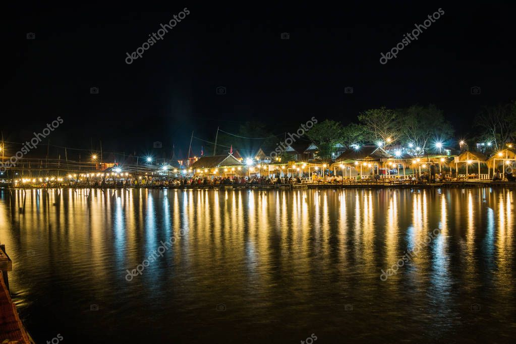 Vangviang, Laos - Feb 19 :Restaurant on the riverfront at night on Feb 19, 2017 in Vangviang, Laos