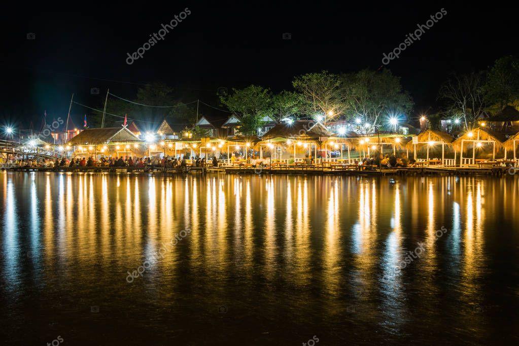 Vangviang, Laos - Feb 19 :Restaurant on the riverfront at night on Feb 19, 2017 in Vangviang, Laos