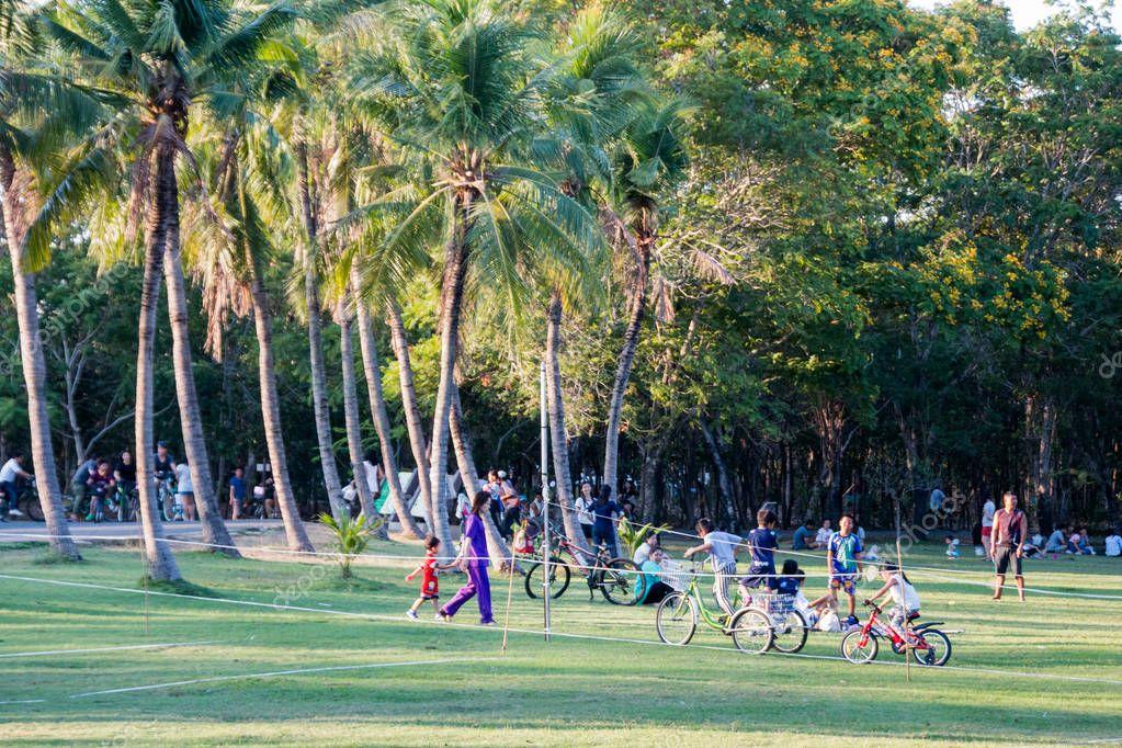 Bangkok, Thailand- Mar 19 : people playing, doing picnic, relaxing at the grass field on Mar 19, 2017 in Bangkok , Thailand