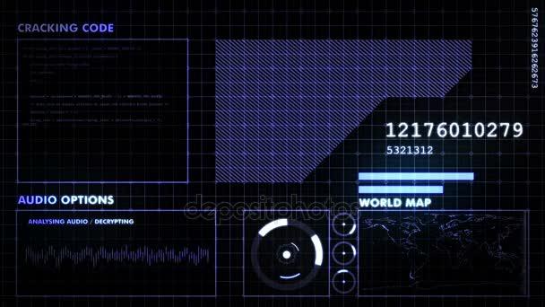Modrá futuristické grafické rozhraní na černém pozadí