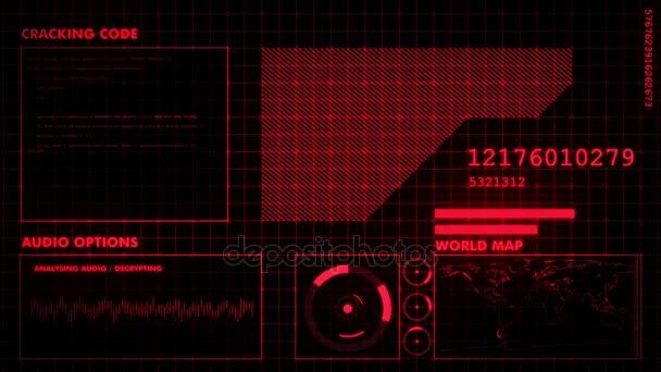 Červená futuristické grafické rozhraní na černém pozadí