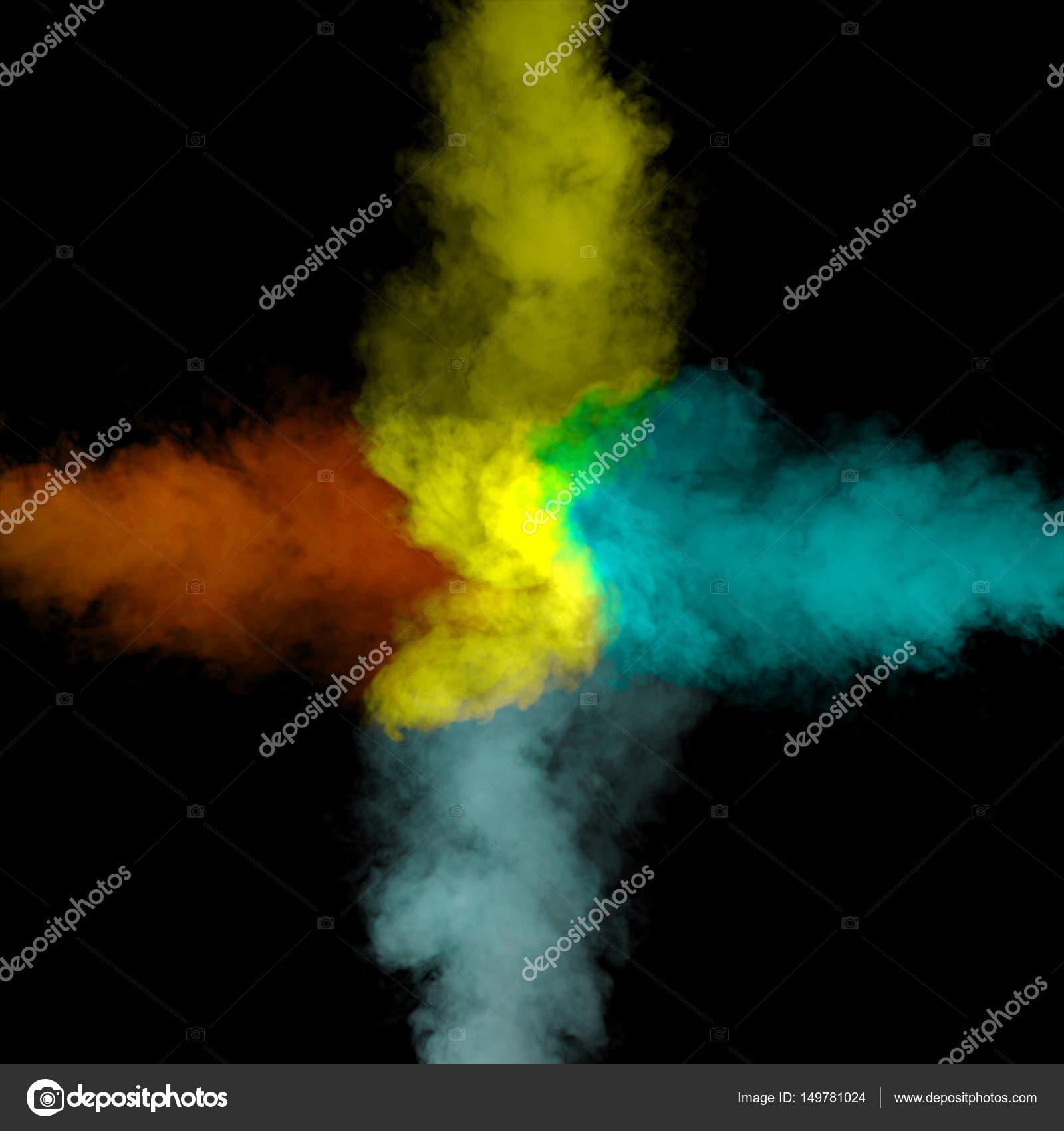 Arte abstracto color polvo sobre fondo negro. Movimiento congelado ...