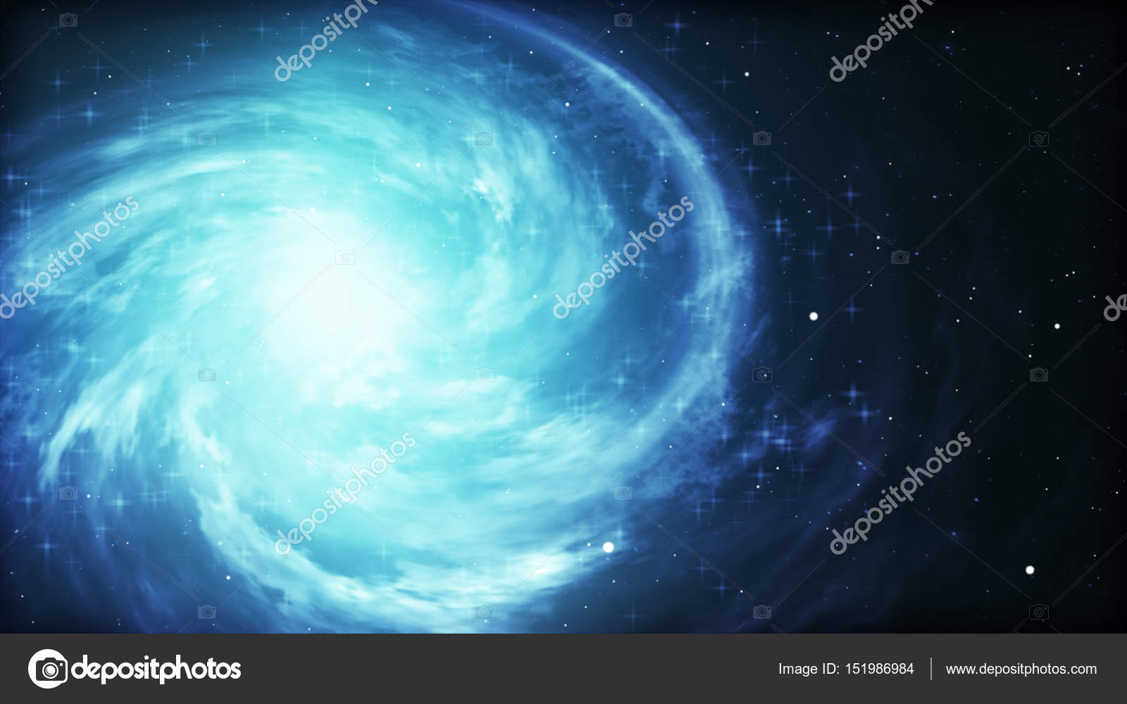 Bright Cosmic Background With Blue Glowing Vortex Abstract