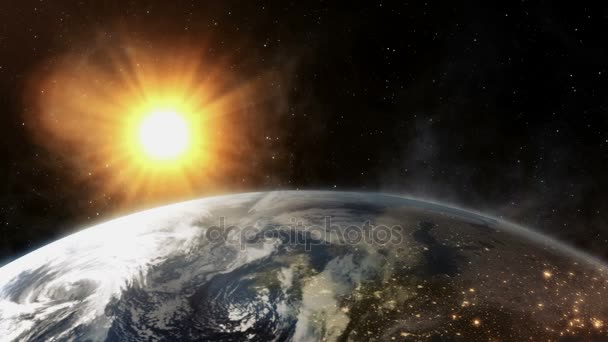 Krásné realistické východ slunce nad planety země z vesmíru.