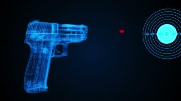 3D-s animáció egy pisztolyt egy cél lövés