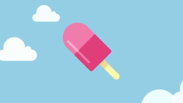 Flight lahodné ovocné zmrzliny na obloze mraky
