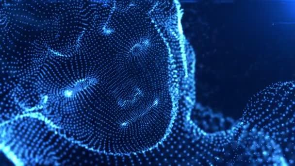 Abstrakt modrý počítač dívka obličeje