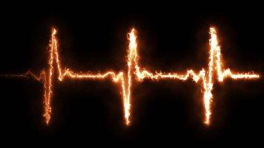 Fire Heart beat pulse in fire illustration stock vector