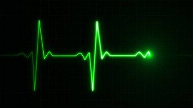 Neon Heart beat pulse in green illustration stock vector