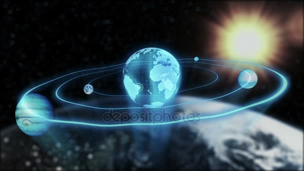 Holograms of the planet earth, moon, Jupiter moving along an ellipse in space