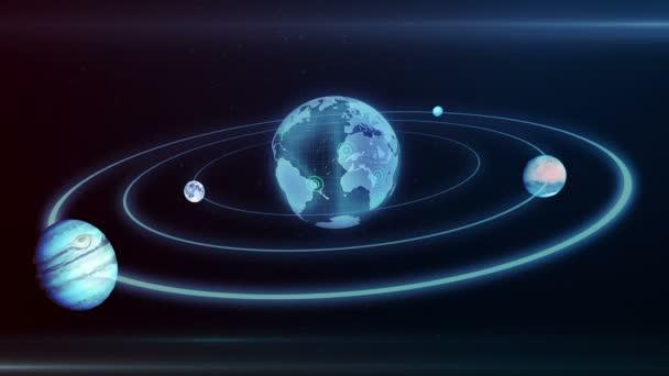 Hologramy planety země, měsíc, Jupiter pohybující se podél elipsu v prostoru