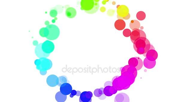 Kreis aus mehrfarbigen Teilchen auf weißem Hintergrund