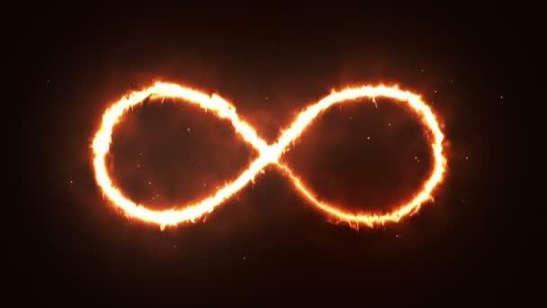 Animáció narancs infinity alakzat megjelenésének tüzet sötét háttér.