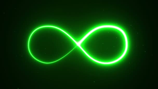 Animation appearance of infinity shape from green neon on dark background. Seamless loop