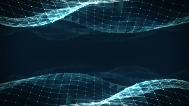 Abstraktní prostor polygonální nízké poly tmavě modré pozadí se spojovacími body a čáry