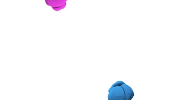 Close-up blu e rosa di inchiostro che è versato in acqua