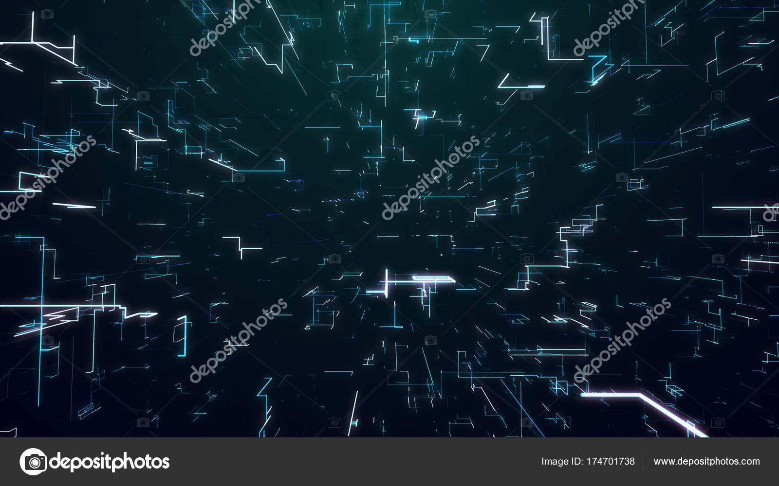 Digitalen Dunkler Hintergrund Rotierenden Flackernde Netz
