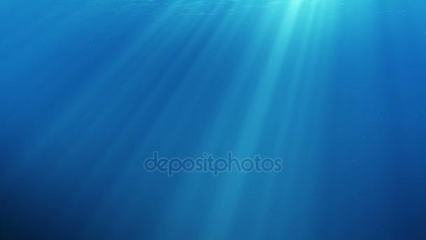 Bezproblémové podvodní scéna s vzduchové bubliny plovoucí nahoru a slunce svítí