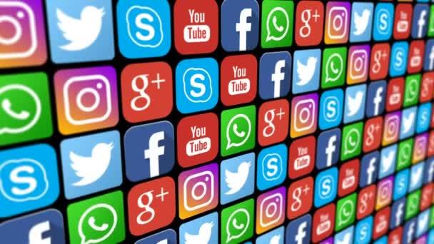 nahtlose Animation von Logos sozialer Netzwerke. nahtlos loopable Scrollkompilation von Social-Media-Symbolen und Logos. nur redaktionell.