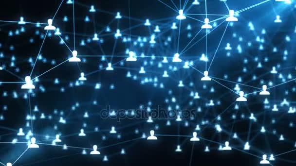 Das Konzept von Verbindungen zwischen Menschen in der virtuellen Welt, soziale Netzwerke, nahtlose animation