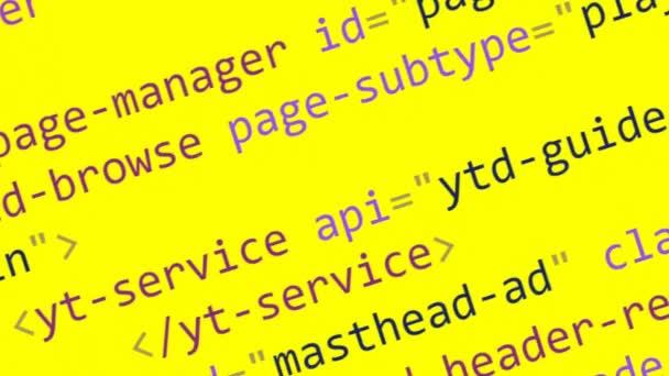 Codice Html scorrimento sullo schermo del computer su una priorità bassa gialla