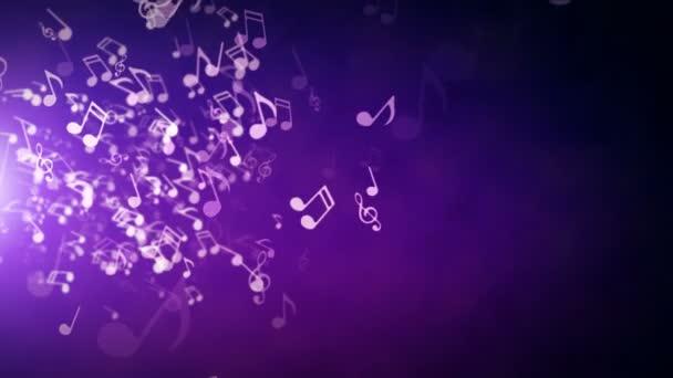 Note musicali di galleggiamento su un astratto sfondo viola con razzi