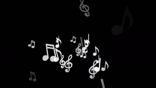 Bílá hudební poznámky přesunout do stran na černém pozadí