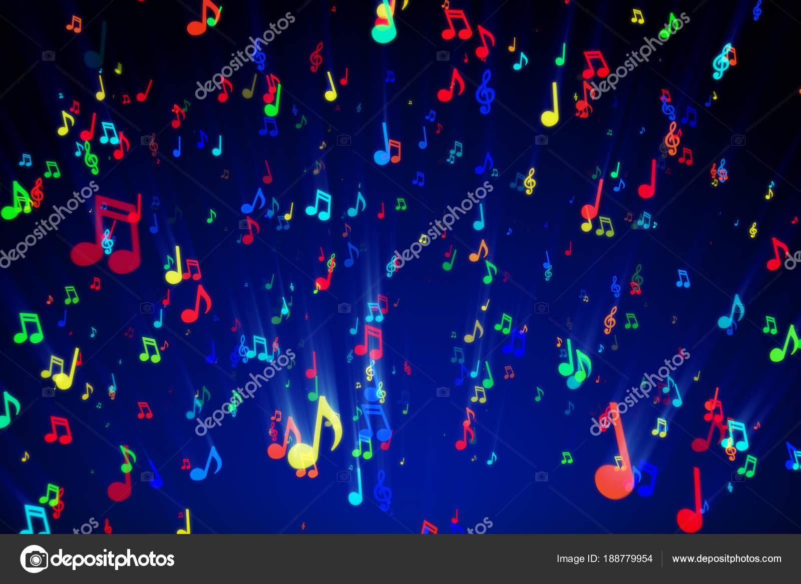 Seamless animation of colorful musical notes for music