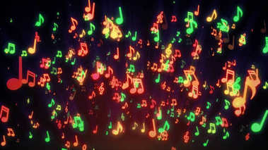Seamless animation of colorful musical notes for music videos, LED screens and projections at night clubs, concerts, festival, exhibition, celebration, wedding and fashion events. 3d illustration