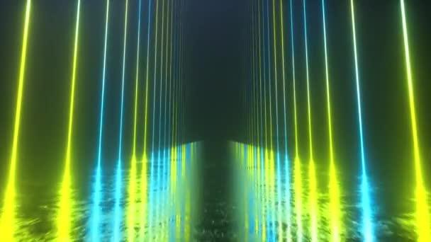 Végtelen folyosó neonvonalakkal. Fém fényvisszaverő kaparós padló. Zökkenőmentes hurok 3D render. Modern színes neon fényspektrum