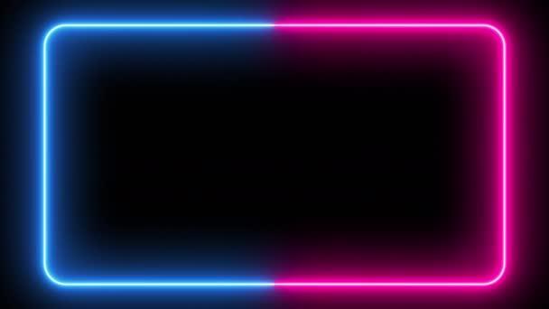 Villogó neon keret egy elszigetelt fekete háttér. Ultraibolya modern fény neon spektrum. Téglalap lekerekített szélekkel. Zökkenőmentes hurok lézer show 3d render