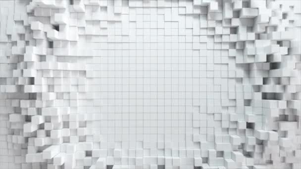 Abstraktní vlnové pozadí s pohybujícími se bílými kostkami. Geometrický koncept s náhodnými poli nebo sloupci. Šablona návrhu pohybu. Bezešvé smyčky 4k 3d vykreslení. Technologické složení. Radiální vlnění.
