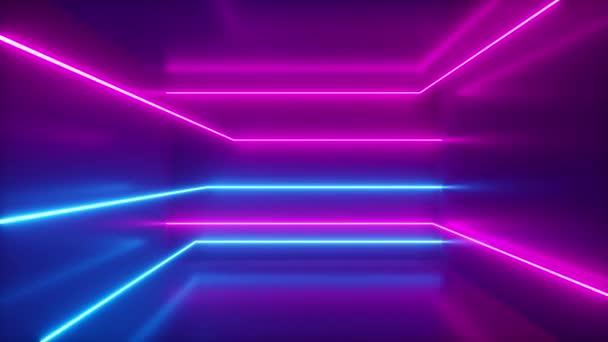 Absztrakt háttér, mozgó neon sugarak, világító vonalak a szobában, fluoreszkáló ultraibolya fény, kék piros rózsaszín lila spektrum, hurok, zökkenőmentes hurok 3d render