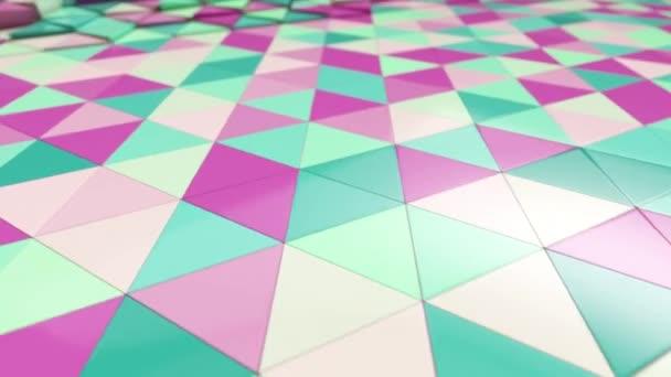 Abstraktní pohybová animace pestrobarevných trojúhelníků. Pastel pěkné klidné barvy. Bezešvé smyčka 3d vykreslení