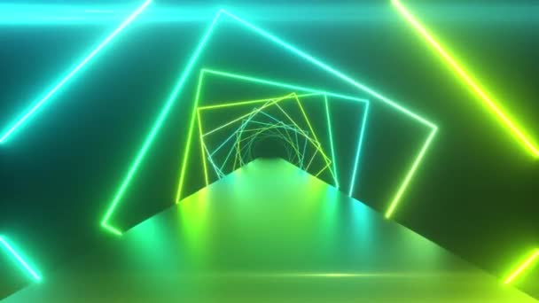 Abstraktní geometrické pozadí s rotujícími čtverci, fluorescenční ultrafialové světlo, zářící neonové linie, rotující tunel, moderní barevné zelené modré spektrum, bezešvé smyčky 3d vykreslování