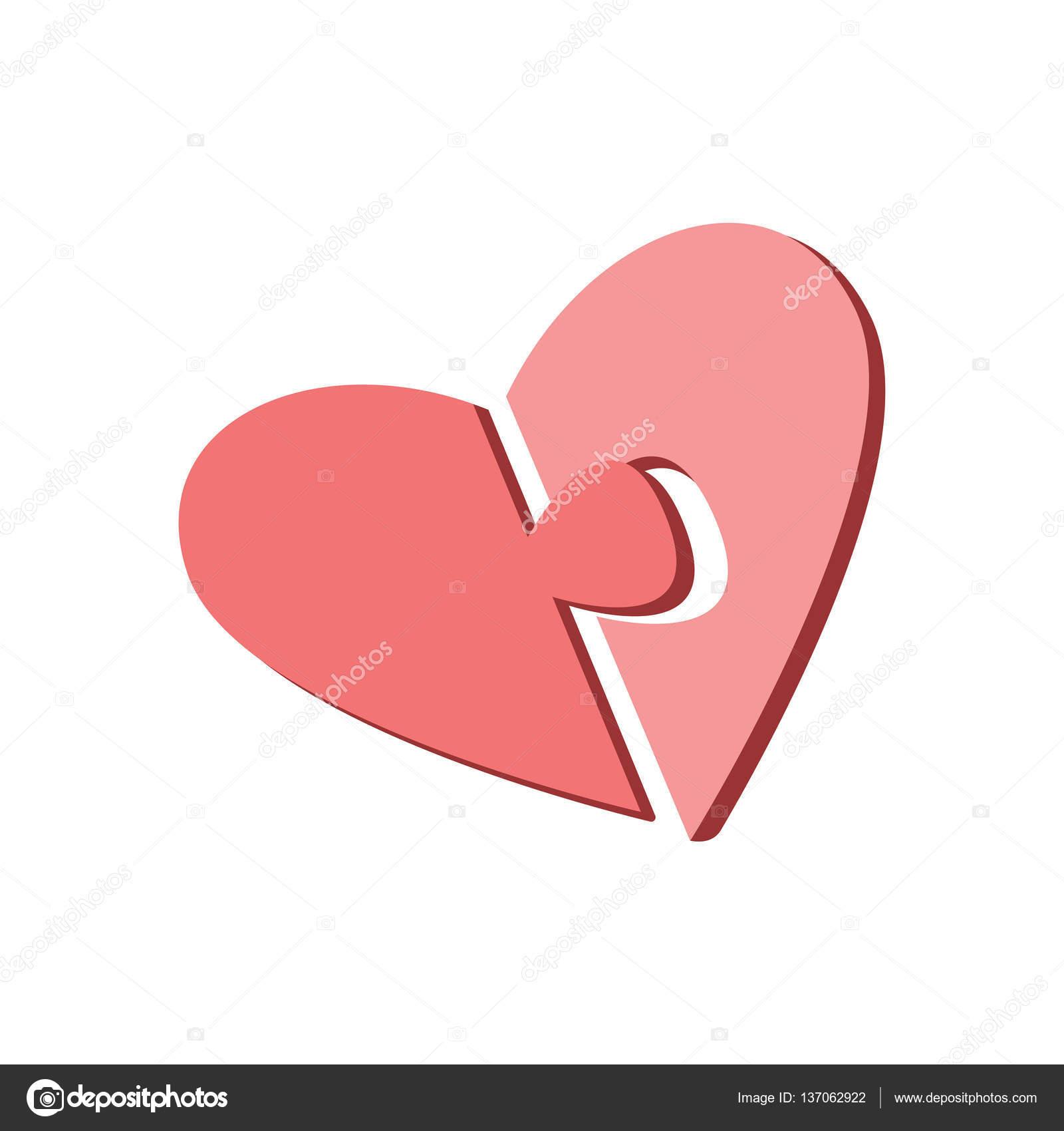 Zwei Hälften des Herzens auf einem weißen Hintergrund. Teile des ...