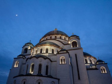Saint Sava Cathedral Temple (Hram Svetog Save) in the early evening seen fron the outside. This orthodox church is one of the main monuments of the capital city of Belgrade