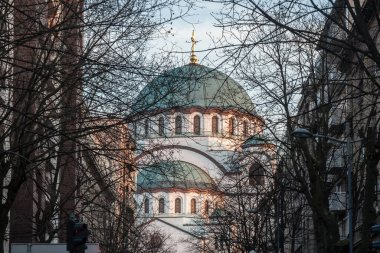 Saint Sava Cathedral Temple (Hram Svetog Save) in the afternoon seen fron the nearby streets. This orthodox church is one of the main monuments of the capital city of Belgrade