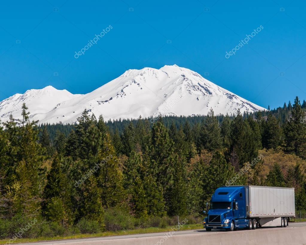 Denver , Colorado, USA 4/15/17 Volvo Semi Truck in mountain down hill