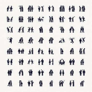Stick Figure. Love. Vector Monochrome illustration pictogramms clip art vector