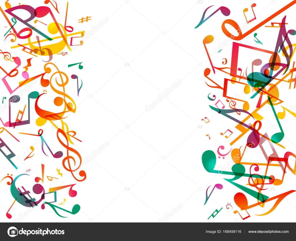 colorful music notes vector illustration abstract white background rh depositphotos com musical notes background vector Colorful Music Notes Background