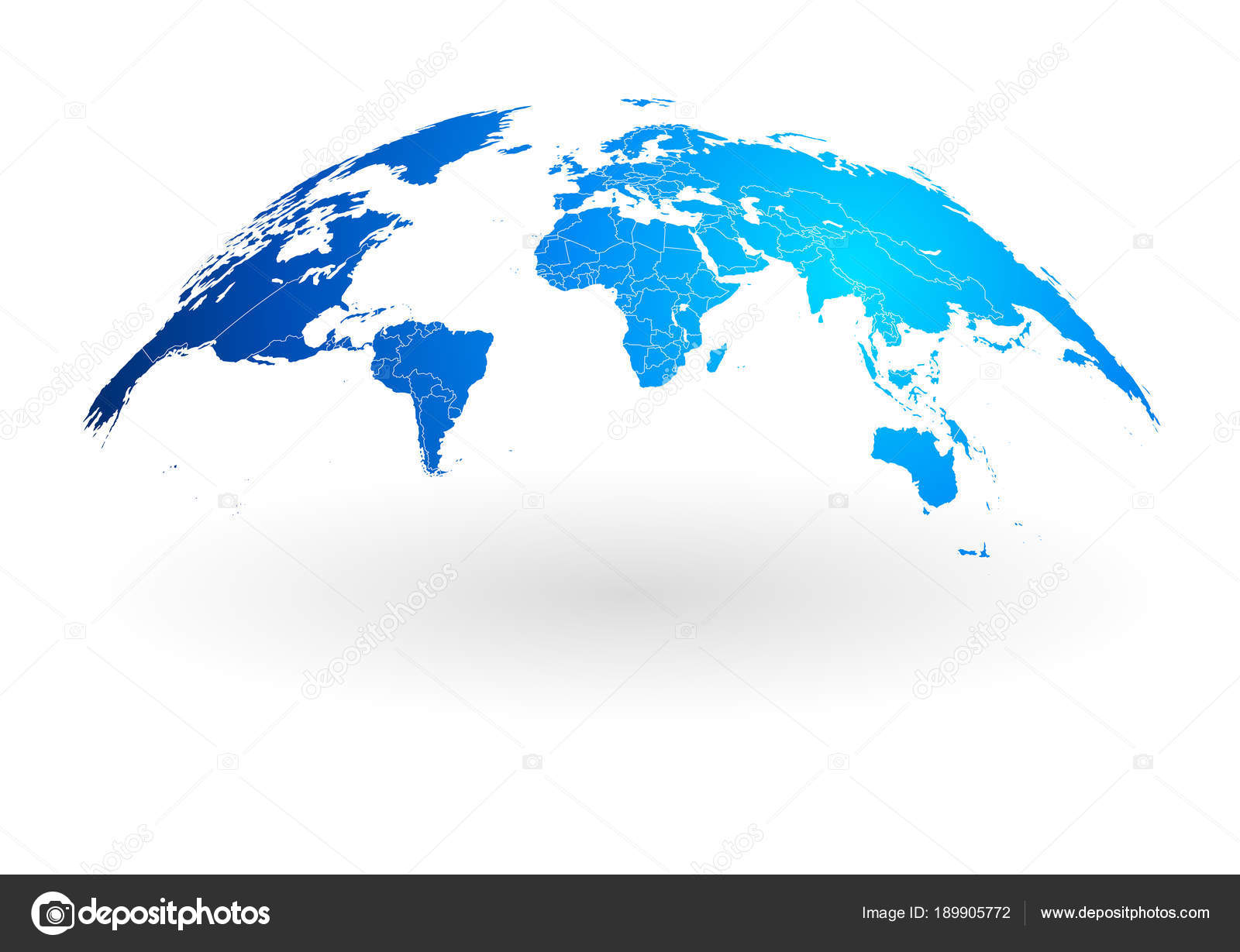 Blue world map globe isolated on white background stock vector detailed blue world map with white country borders mapped on an open globe isolated on white background vector by fourleaflovers gumiabroncs Image collections