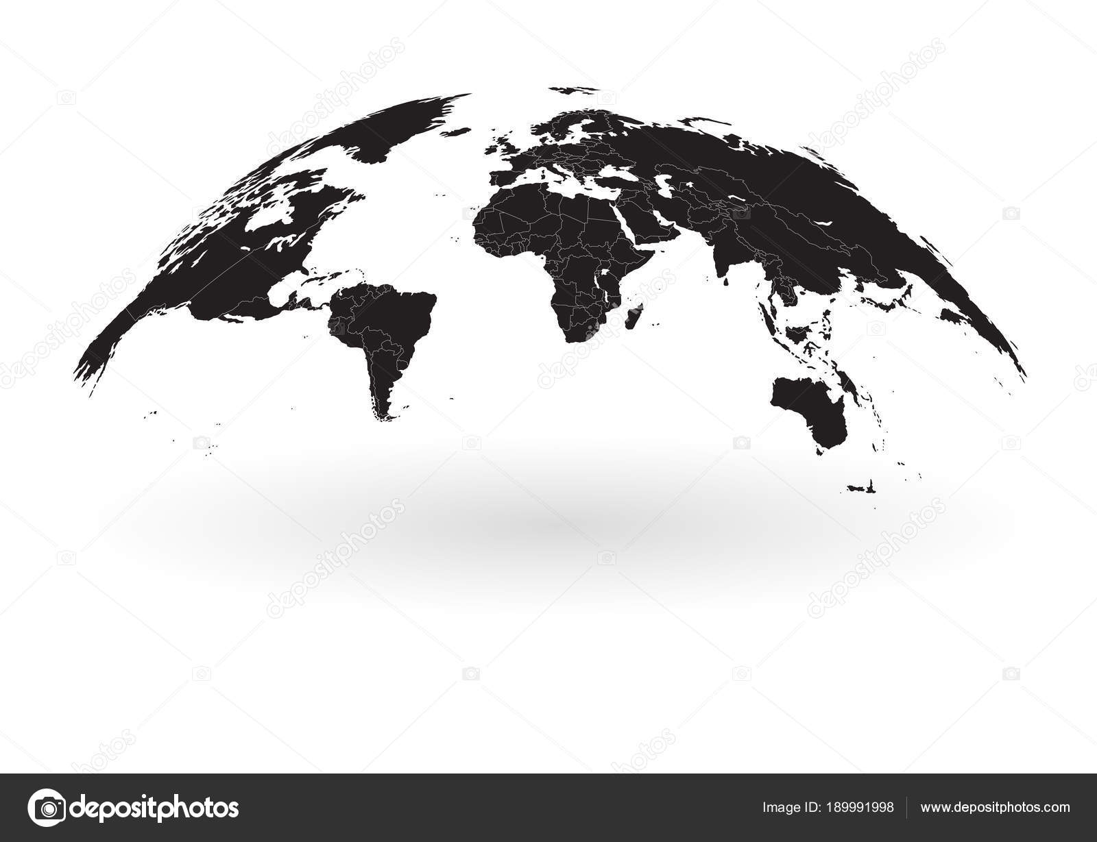 Black world map globe isolated on white background stock vector detailed black world map mapped on an open globe with white country borders isolated on white background vector by fourleaflovers gumiabroncs Gallery